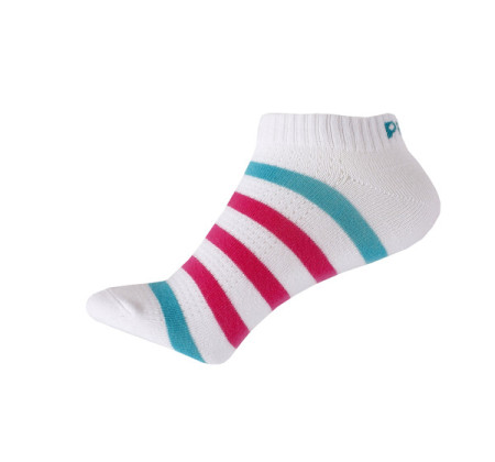 PEAK kotníkové ponožky proužkované - white/jade green