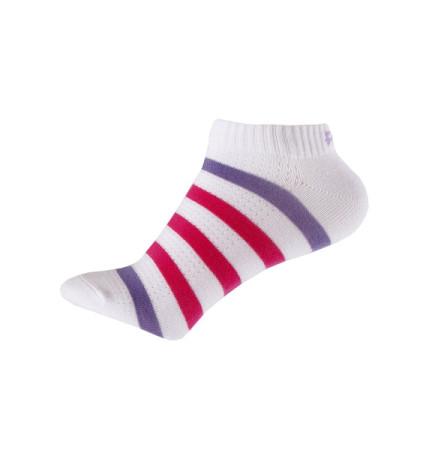 PEAK kotníkové ponožky proužkované - white/purple/rose